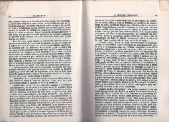Trecho do livro de Ramatis, nesse capítulo ele narra a relação de Jesus, em sua infância e os animais.